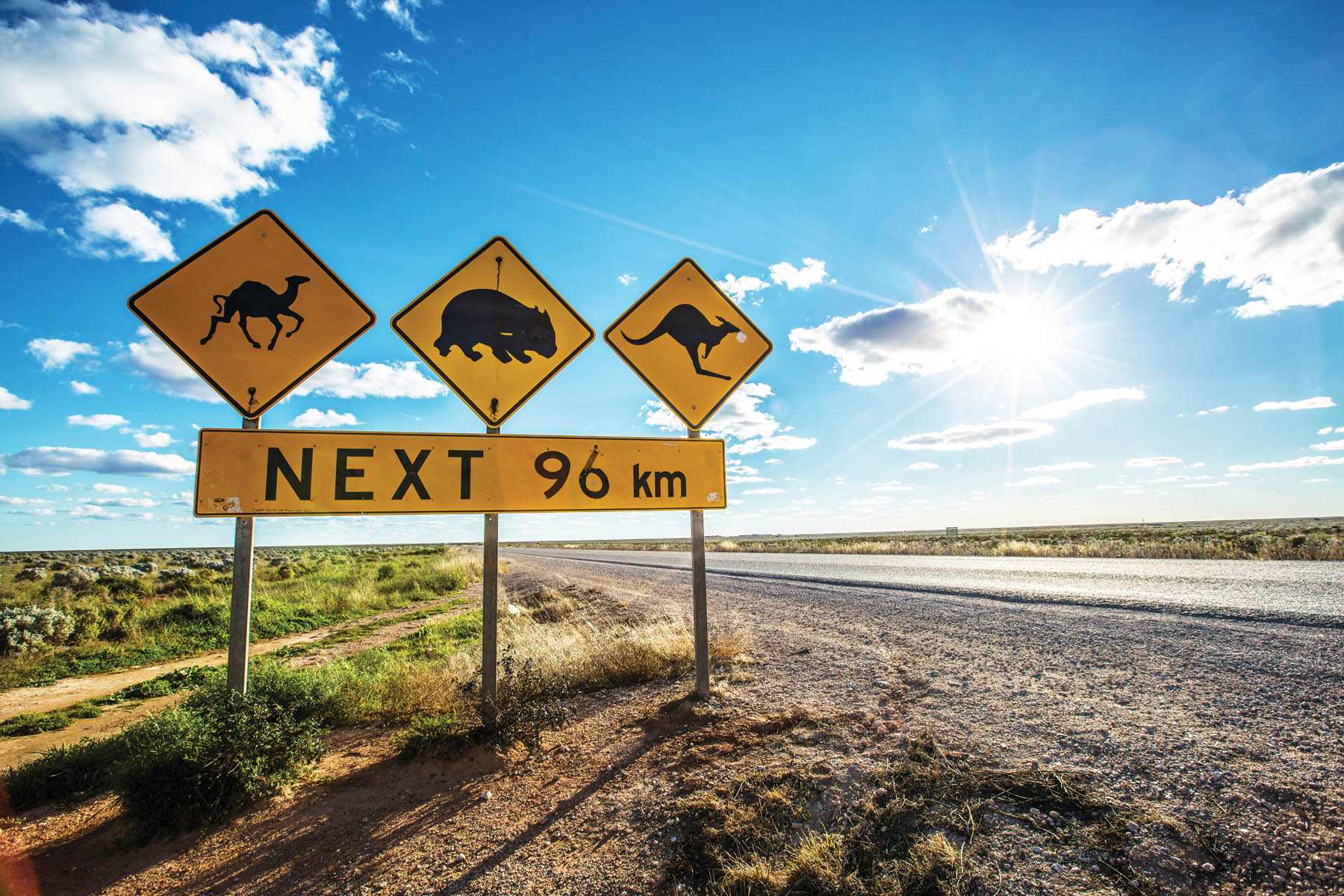 The wildlife crossing sign on the Nullarbor Plain, in outback Australia.