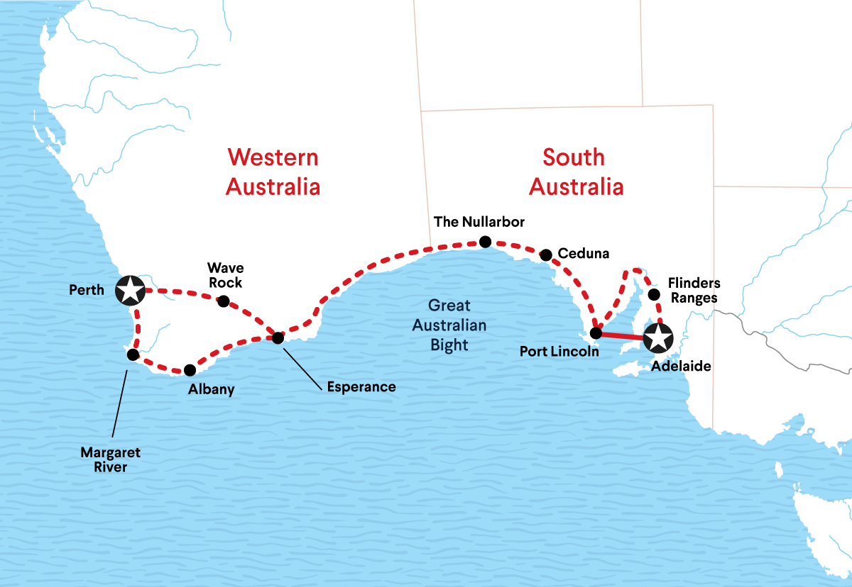 Australian Wildlife Adventures Tour Map Between Perth and Adelaide